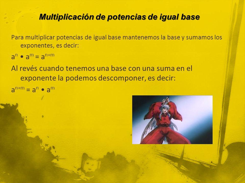 Multiplicación de potencias de igual base