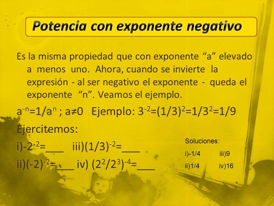 Potencia con exponente negativo