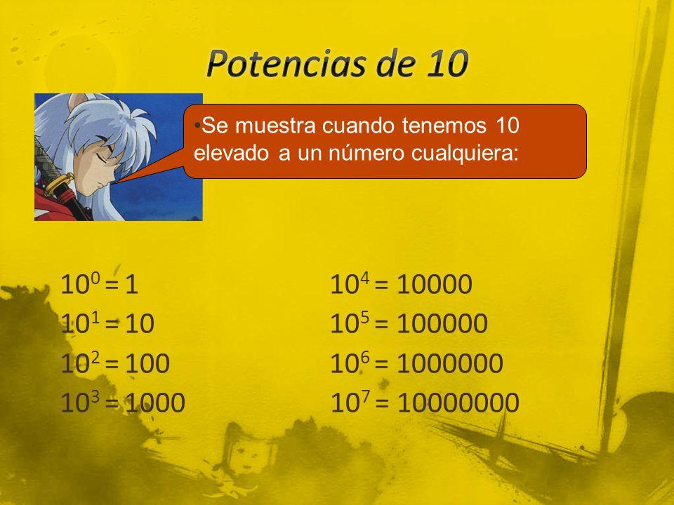 Potencias de 10 Se muestra cuando tenemos 10 elevado a un número cualquiera: