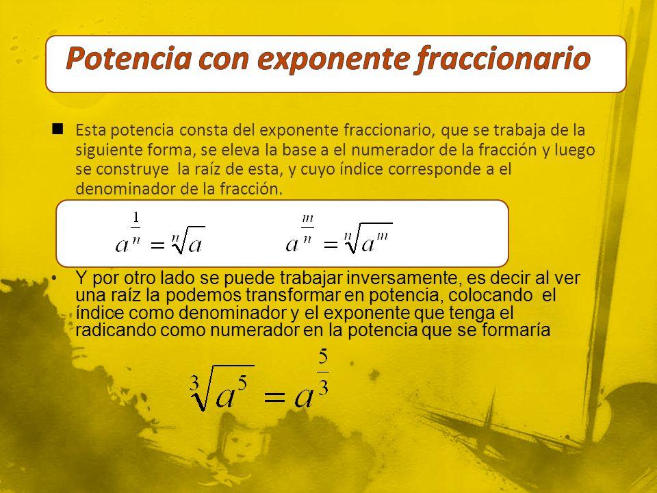 Potencia con exponente fraccionario