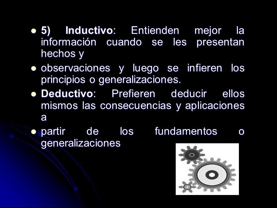 5) Inductivo: Entienden mejor la información cuando se les presentan hechos y