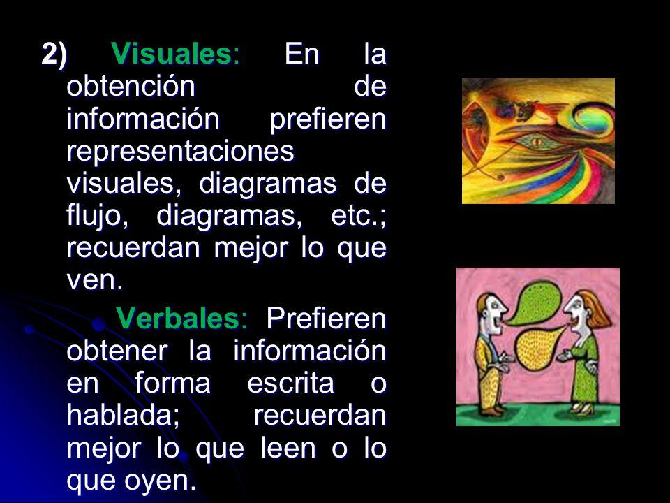 2) Visuales: En la obtención de información prefieren representaciones visuales, diagramas de flujo, diagramas, etc.; recuerdan mejor lo que ven.