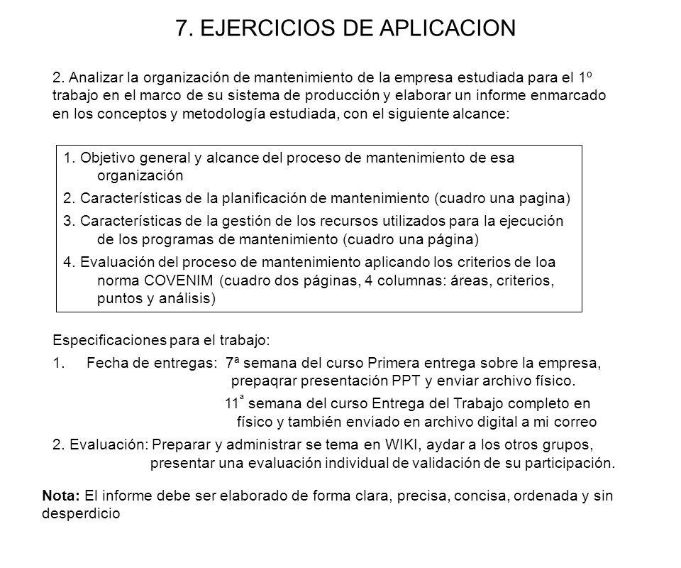 7. EJERCICIOS DE APLICACION