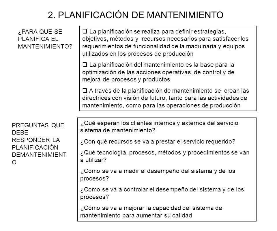 2. PLANIFICACIÓN DE MANTENIMIENTO