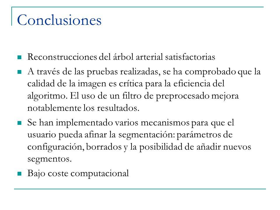 Conclusiones Reconstrucciones del árbol arterial satisfactorias