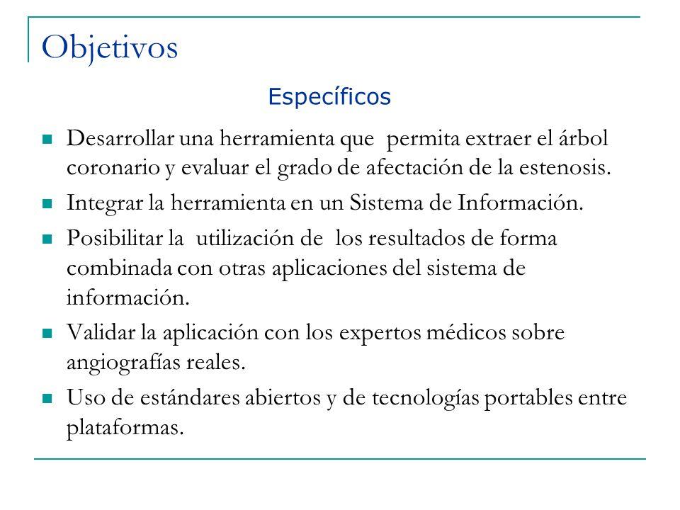 Objetivos Específicos. Desarrollar una herramienta que permita extraer el árbol coronario y evaluar el grado de afectación de la estenosis.