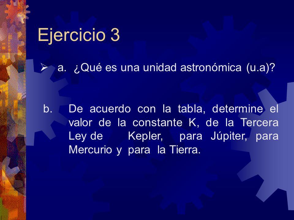 Ejercicio 3 a. ¿Qué es una unidad astronómica (u.a)