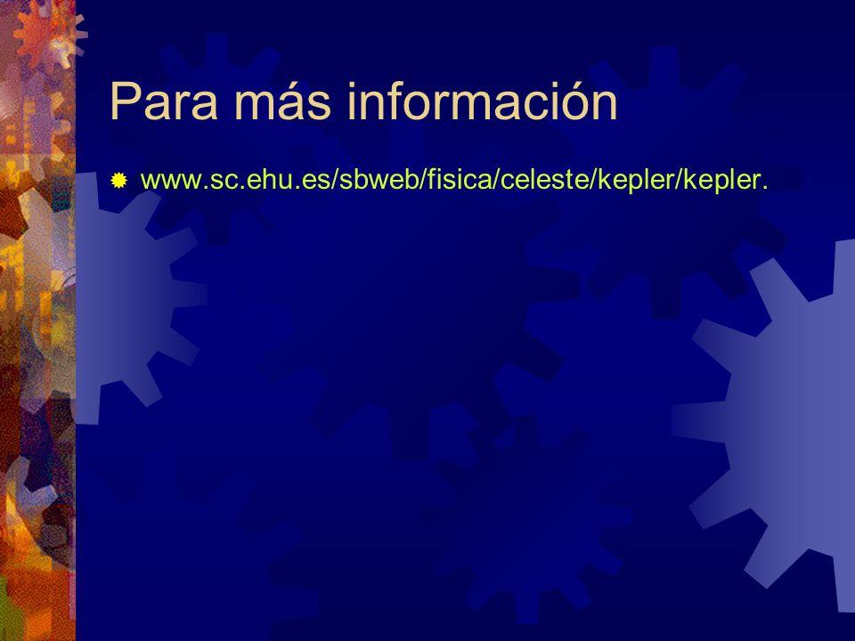 Para más información www.sc.ehu.es/sbweb/fisica/celeste/kepler/kepler.