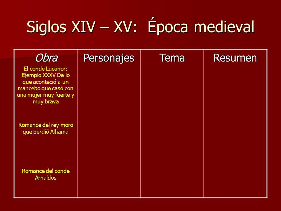 Siglos XIV – XV: Época medieval