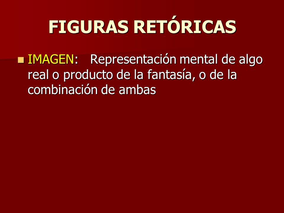 FIGURAS RETÓRICAS IMAGEN: Representación mental de algo real o producto de la fantasía, o de la combinación de ambas.