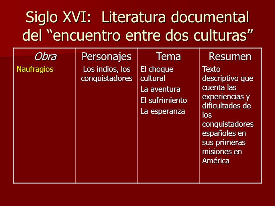 Siglo XVI: Literatura documental del encuentro entre dos culturas