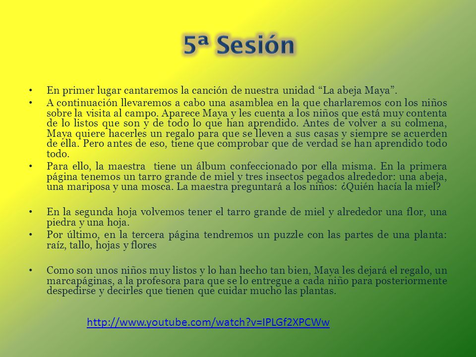 5ª Sesión http://www.youtube.com/watch v=IPLGf2XPCWw