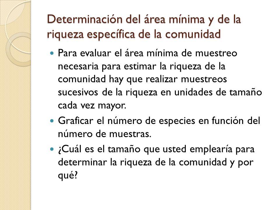 Determinación del área mínima y de la riqueza específica de la comunidad