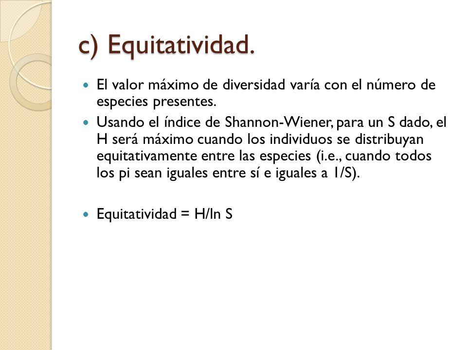c) Equitatividad. El valor máximo de diversidad varía con el número de especies presentes.