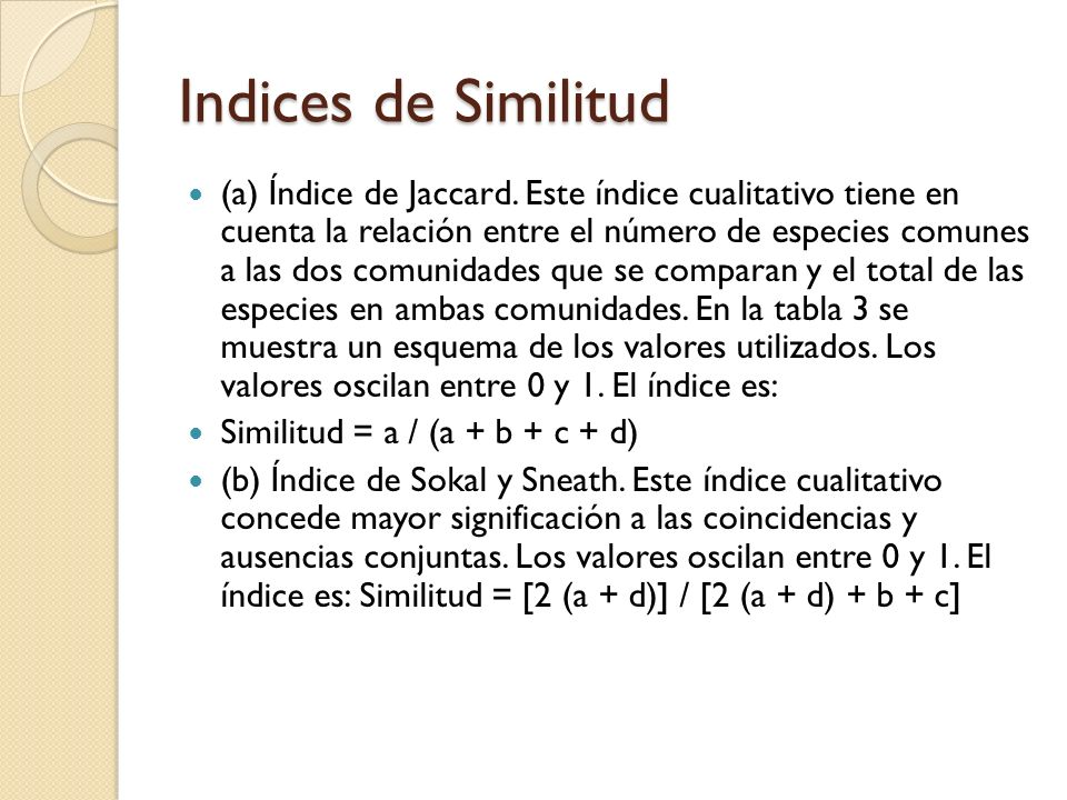 Indices de Similitud