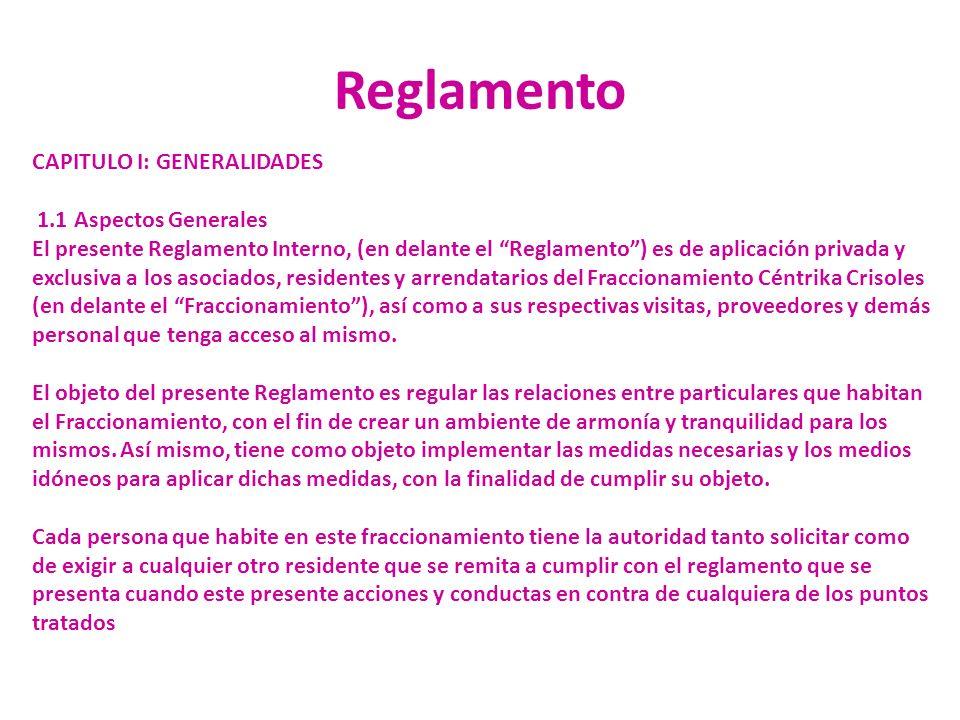 Reglamento CAPITULO I: GENERALIDADES 1.1 Aspectos Generales