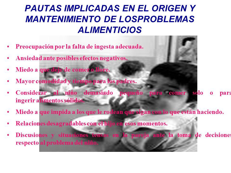 PAUTAS IMPLICADAS EN EL ORIGEN Y MANTENIMIENTO DE LOSPROBLEMAS ALIMENTICIOS