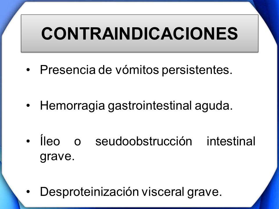 CONTRAINDICACIONES Presencia de vómitos persistentes.