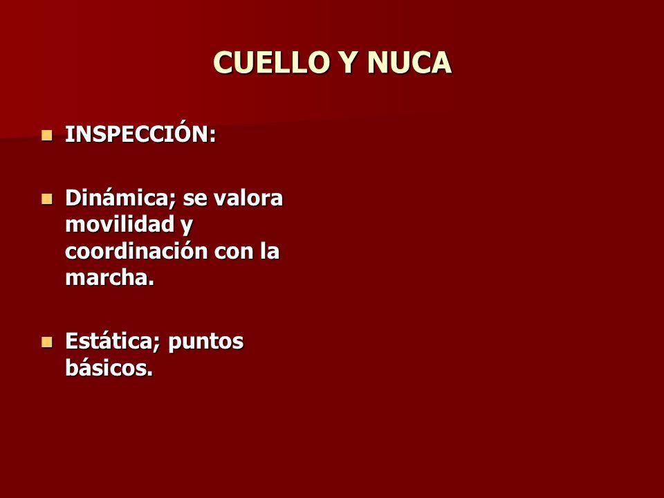 CUELLO Y NUCA INSPECCIÓN: