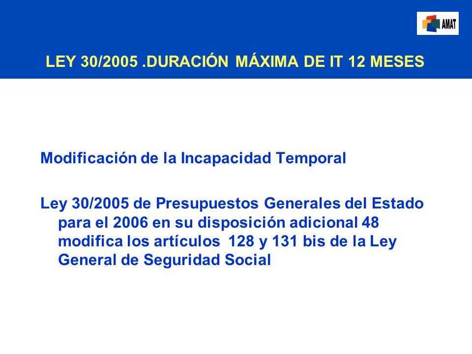 LEY 30/2005 .DURACIÓN MÁXIMA DE IT 12 MESES