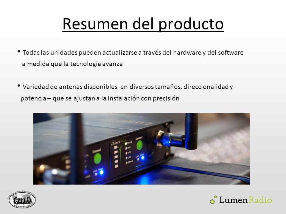 Resumen del producto Todas las unidades pueden actualizarse a través del hardware y del software. a medida que la tecnología avanza.