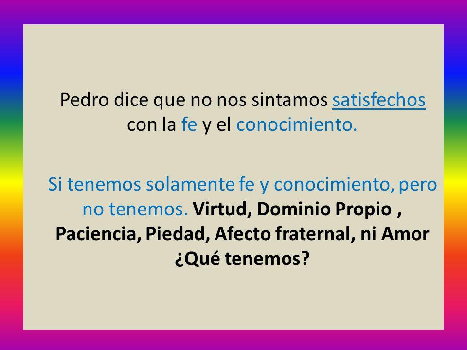 Pedro dice que no nos sintamos satisfechos con la fe y el conocimiento.