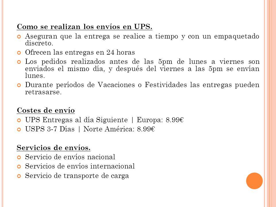 Como se realizan los envíos en UPS.