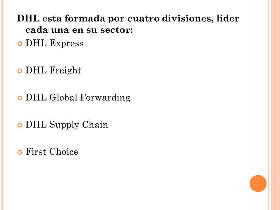 DHL esta formada por cuatro divisiones, líder cada una en su sector: