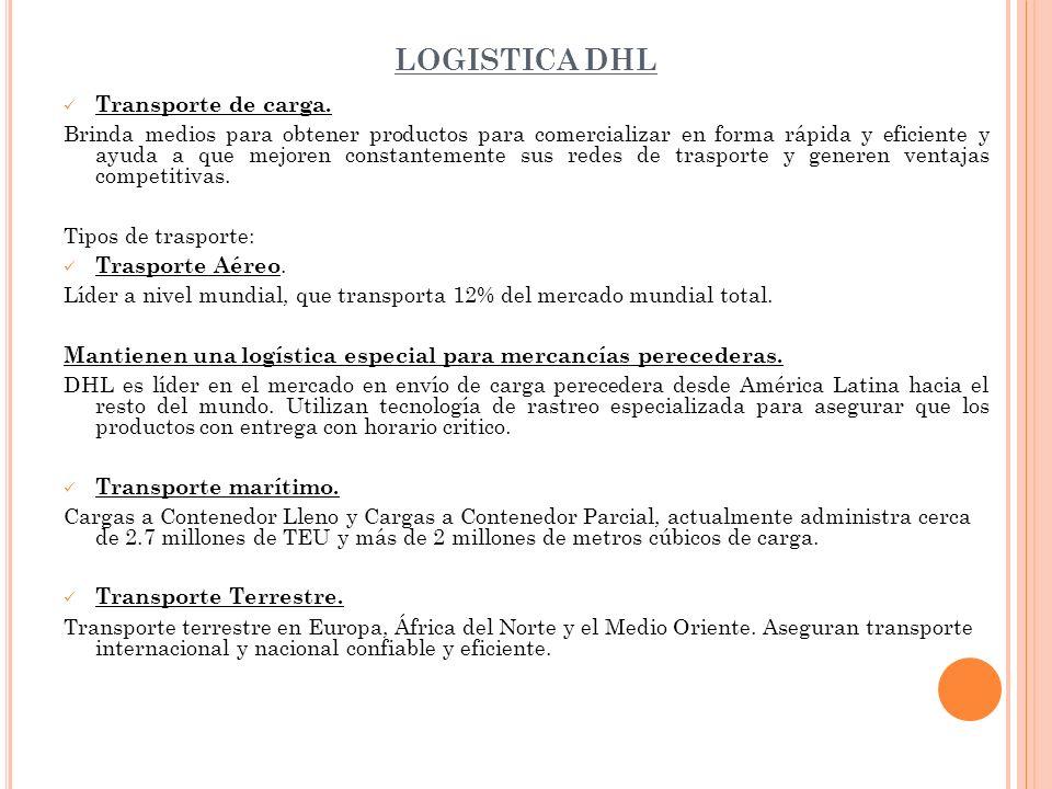 LOGISTICA DHL Transporte de carga.