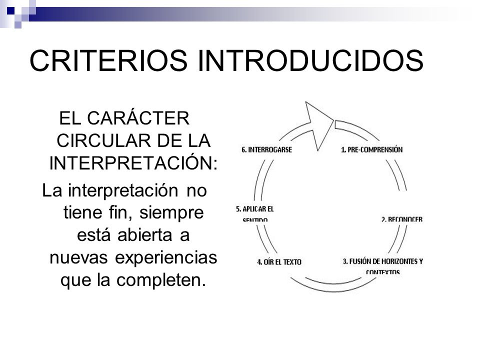 CRITERIOS INTRODUCIDOS