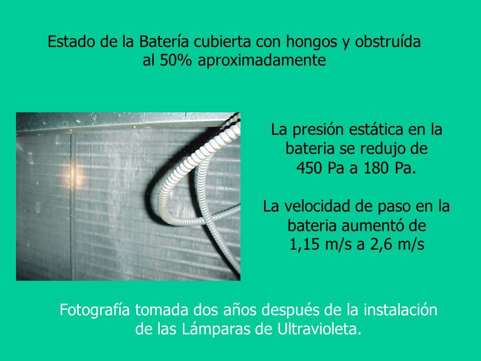 La presión estática en la bateria se redujo de 450 Pa a 180 Pa.