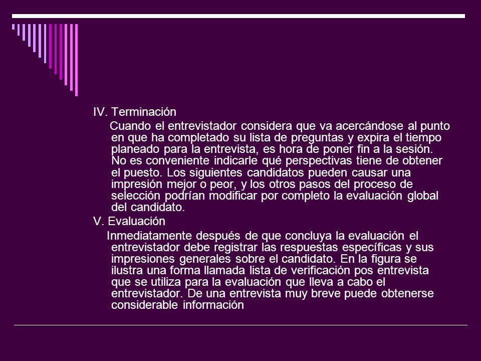 IV. Terminación