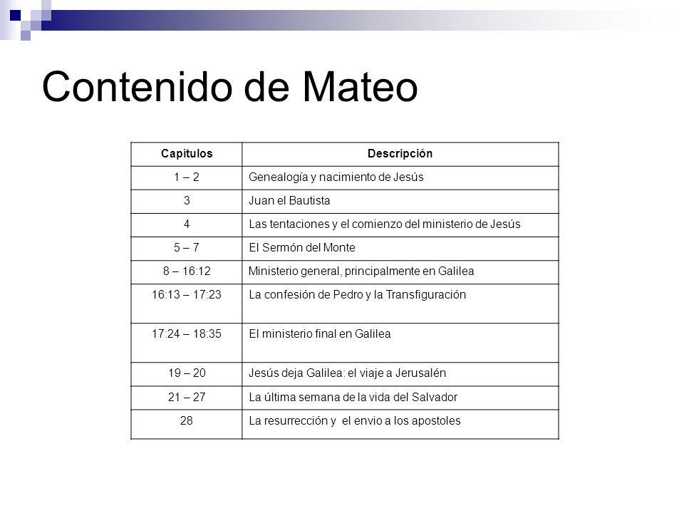 Contenido de Mateo Capítulos Descripción 1 – 2