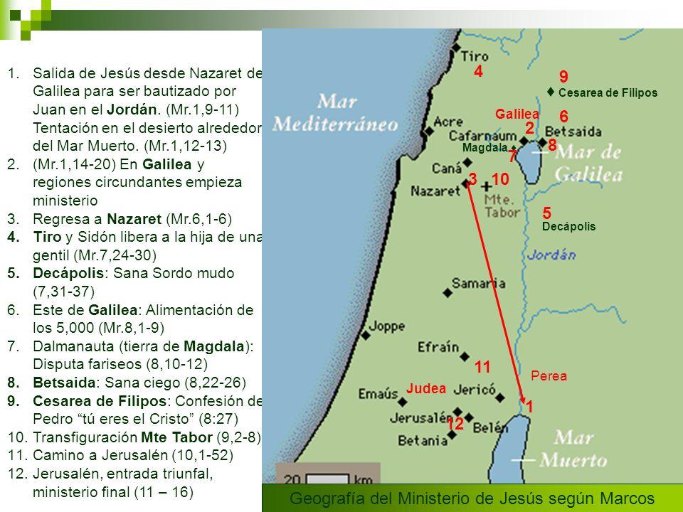 Geografía del Ministerio de Jesús según Marcos