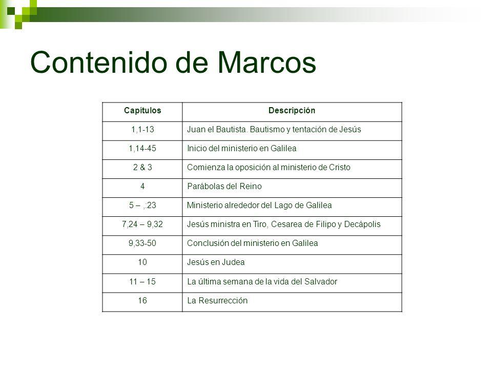 Contenido de Marcos Capítulos Descripción 1,1-13