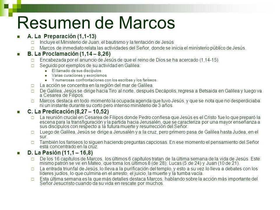 Resumen de Marcos A. La Preparación (1,1-13)