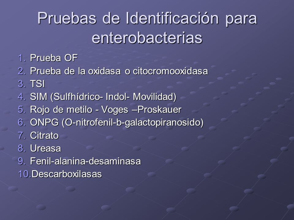 Pruebas de Identificación para enterobacterias