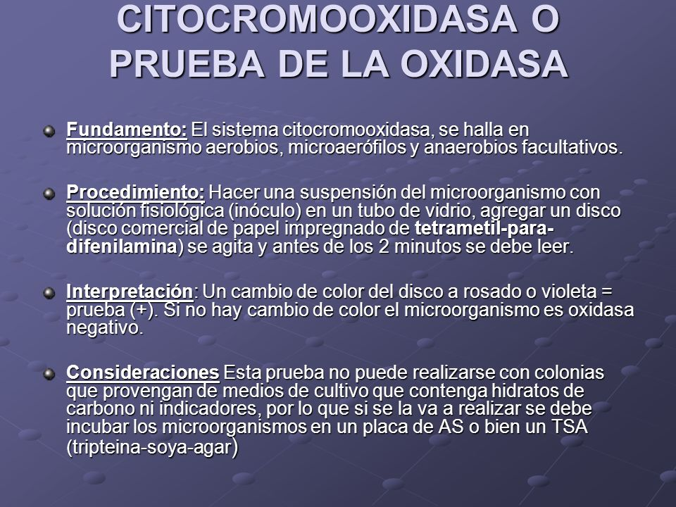 CITOCROMOOXIDASA O PRUEBA DE LA OXIDASA