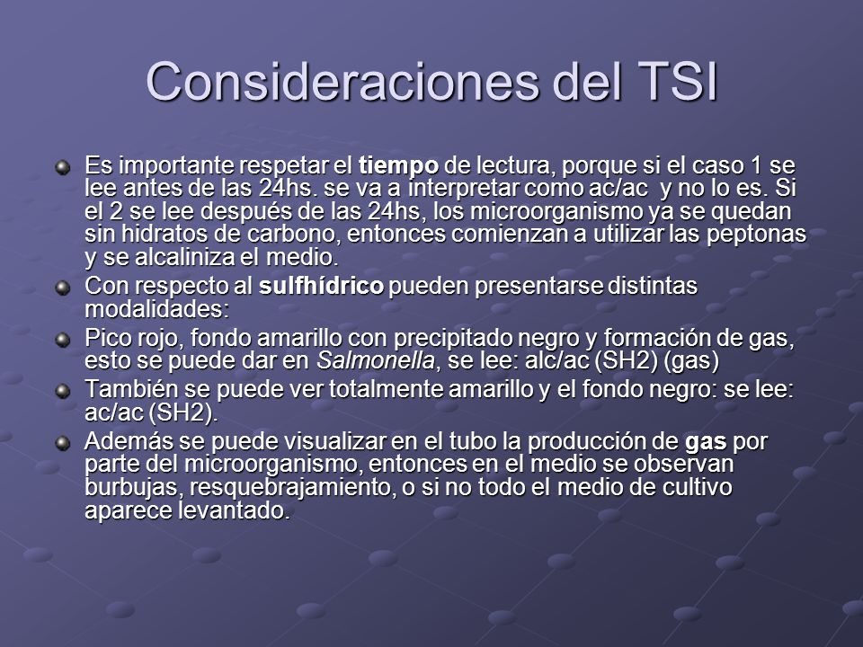Consideraciones del TSI