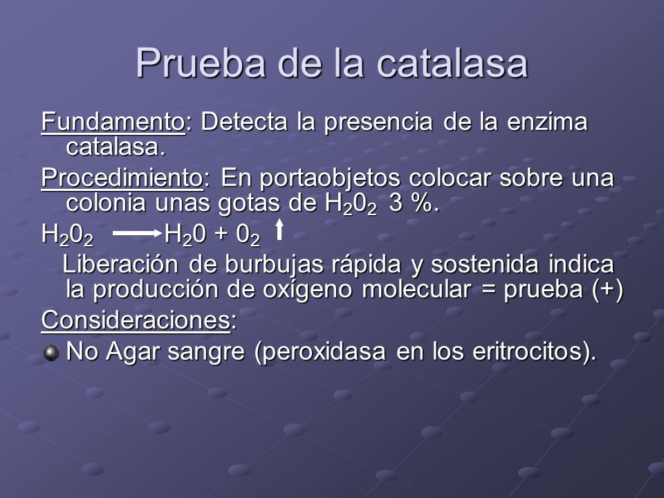 Prueba de la catalasa Fundamento: Detecta la presencia de la enzima catalasa.