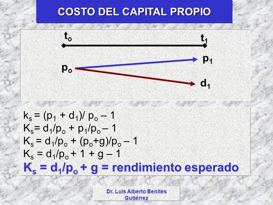COSTO DEL CAPITAL PROPIO Dr. Luis Alberto Benites Gutiérrez