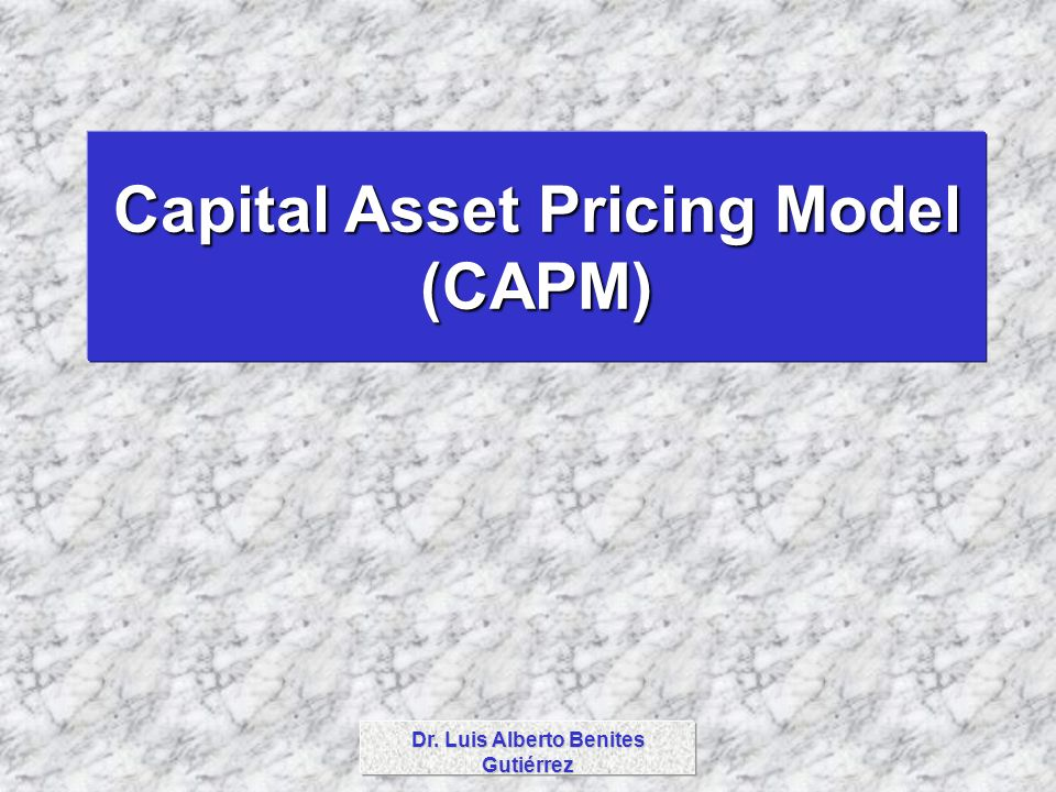 Capital Asset Pricing Model (CAPM) Dr. Luis Alberto Benites Gutiérrez
