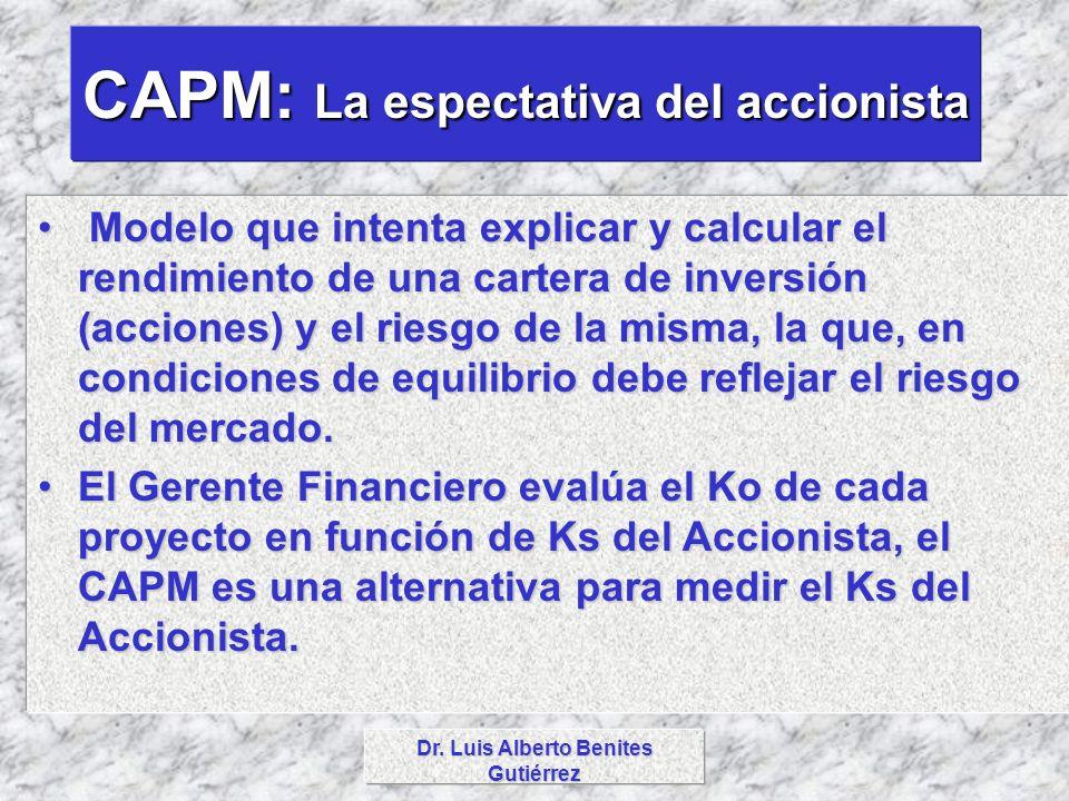 CAPM: La espectativa del accionista Dr. Luis Alberto Benites Gutiérrez