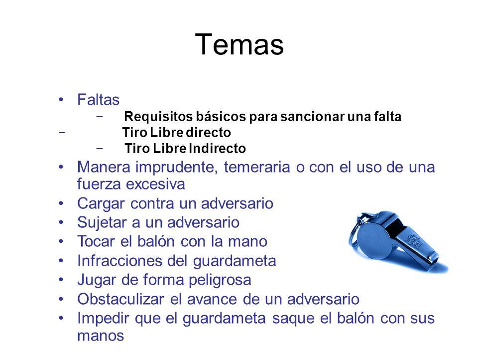 Temas Faltas. Requisitos básicos para sancionar una falta. Tiro Libre directo. Tiro Libre Indirecto.