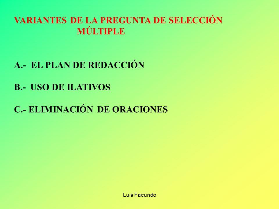 VARIANTES DE LA PREGUNTA DE SELECCIÓN MÚLTIPLE