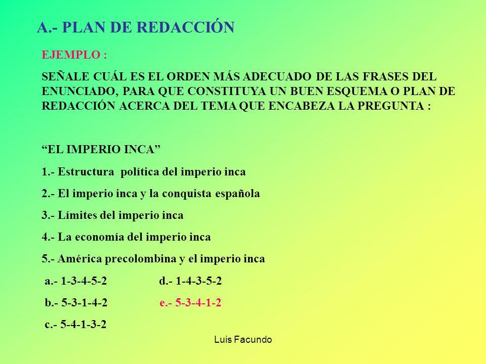 A.- PLAN DE REDACCIÓN EJEMPLO :