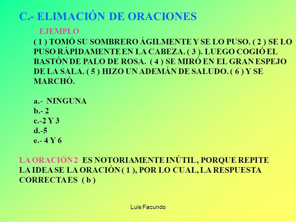 C.- ELIMACIÓN DE ORACIONES EJEMPLO