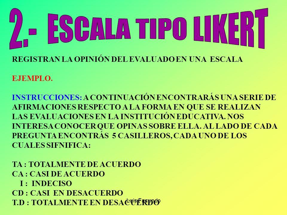 2.- ESCALA TIPO LIKERT REGISTRAN LA OPINIÓN DEL EVALUADO EN UNA ESCALA