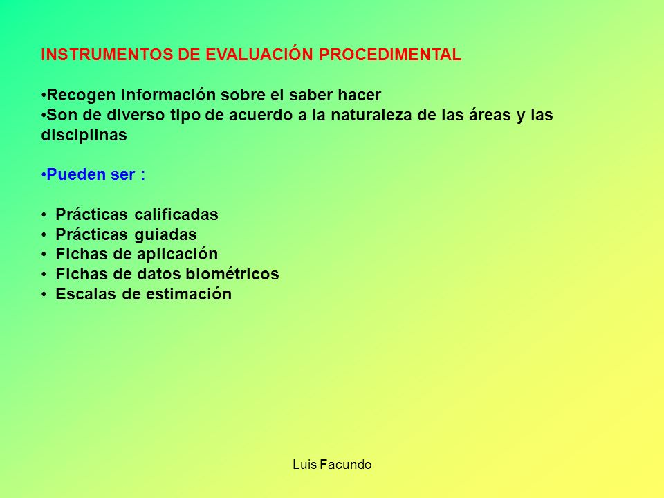 INSTRUMENTOS DE EVALUACIÓN PROCEDIMENTAL