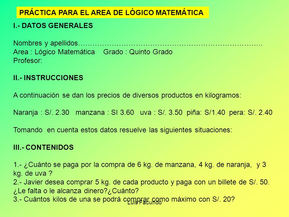 PRÁCTICA PARA EL AREA DE LÓGICO MATEMÁTICA